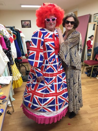Becoming a voice actor - Deryn Oliver with a man in british flag drag dress